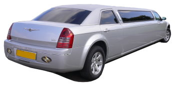 Chauffeur driven silver Chrysler 300 stretched limousine - School Proms, Birthdays, Anniversaries in Northampton and beyond.